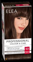 """Боя за коса """"Elea Proffesional Colour&Care"""" - № 4/0 Средно кафяв"""